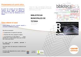 Cómo obtener el carné - Bibliotecas Públicas