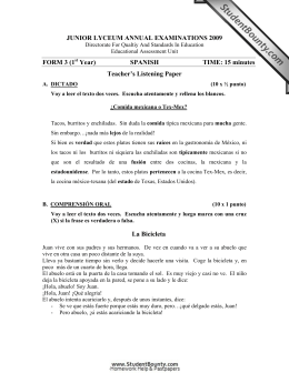 JUNIOR LYCEUM ANNUAL EXAMINATIONS 2009