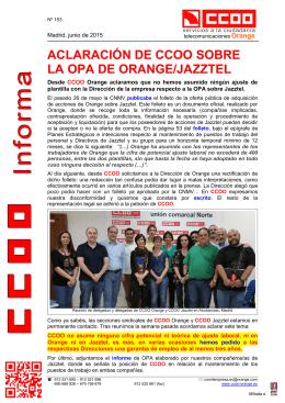 CCOO. Jazztel, teletrabajo, jornada verano (n153)