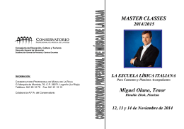 (Folleto Master classes `La Escuela Lírica Italiana`)