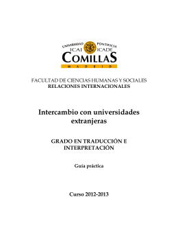Folleto intercambio T-I 12-13 - Universidad Pontificia Comillas