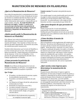MANUTENCIÓN DE MENORES EN FILADELPHIA
