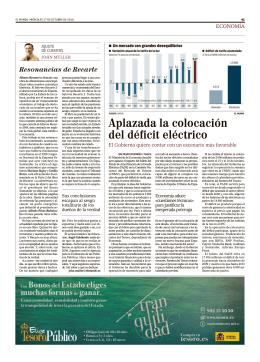 Aplazada la colocación del déficit eléctrico