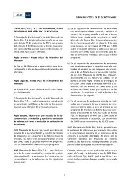 Sobre ingresos de AIAF Mercado de Renta Fija, para el