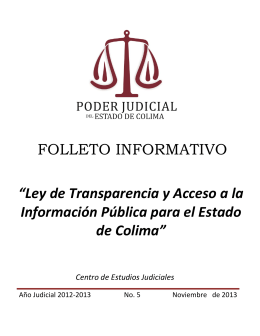 """FOLLETO INFORMATIVO """"Ley de Transparencia y Acceso a la"""