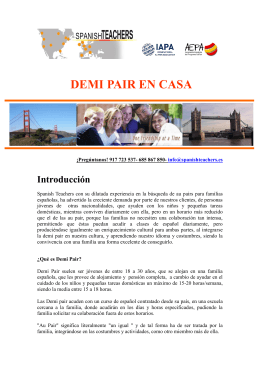 Folleto informativo Demi Pair en casa