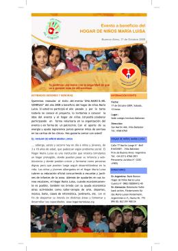 Evento a beneficio del HOGAR DE NIÑOS MARÍA LUISA
