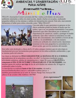 TALLER DE EDUCACIÓN AMBIENTAL Y CONSERVACIÓN PARA