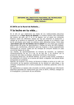 Informe del INTA, Rafaela en relación a sus actividades sobre