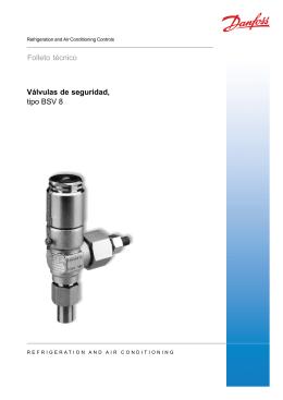 Válvulas de seguridad, tipo BSV 8 Folleto técnico