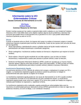 Información sobre la UCI Enfermedades Críticas