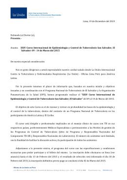 Lima, 19 de Diciembre del 2015 Estimado (a) Doctor (a), Presente
