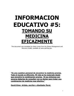 Informacion Educativo #5: Tomando Su Medicina Eficazmente