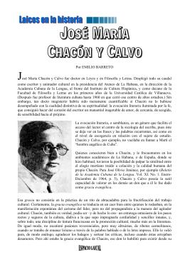 Por EMILIO BARRETO José María Chacón y Calvo fue doctor en