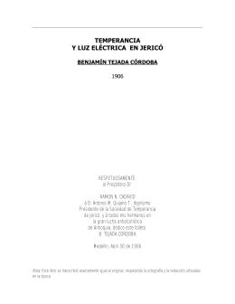 TEMPERANCIA Y LUZ ELÉCTRICA EN JERICÓ