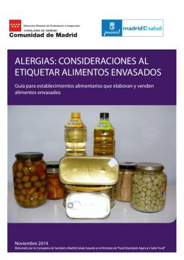 Alergias Consideraciones al etiquetar alimentos envasados. (Ed