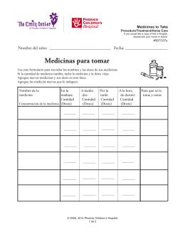 Medicines to Take - Phoenix Children`s Hospital