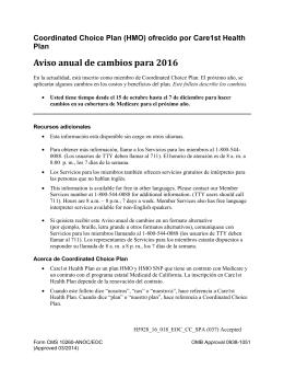 Aviso anual de cambios para 2016