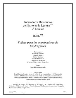 Indicadores Dinámicos del Éxito en la Lectura 7 Edición