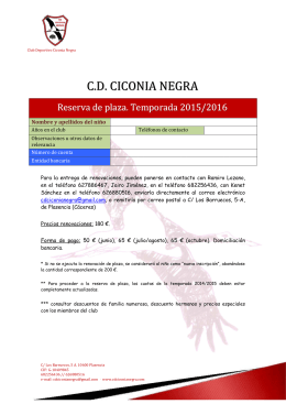 2015-2016. Folleto de reserva de plaza