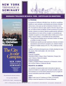 seminario teologico de nueva york: certificado en ministerio