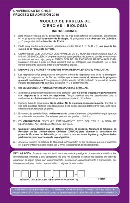 MODELO DE PRUEBA DE CIENCIAS - BIOLOGÍA