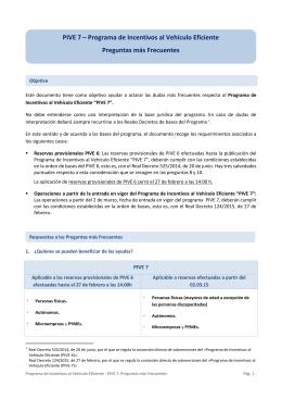 PIVE 7 – Programa de Incentivos al Vehículo Eficiente Preguntas