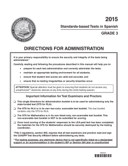 2015 Directions for Administration—STS for RLA (Grade 3)