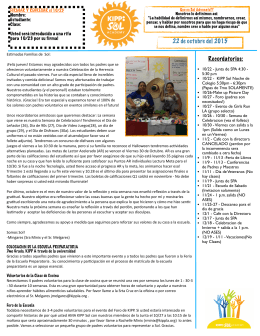 Parent Newsletter 10.22.15 (Spanish Version)
