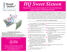 Folleto Handi Quilter Sweet Sixteen 2013