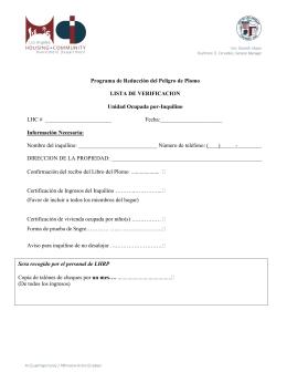 Programa de Reducción del Peligro de Plomo LISTA DE