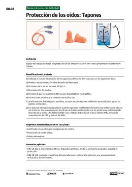 Protección de los oídos: Tapones