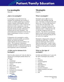 La meningitis Meningitis - Children`s Hospitals and Clinics of