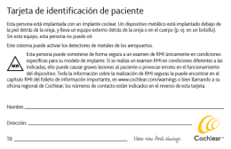 Tarjeta de identificación de paciente