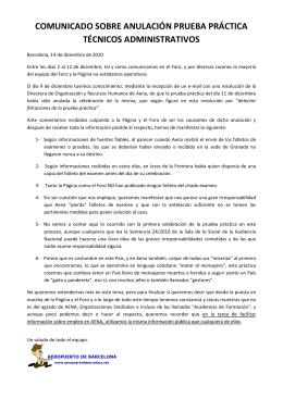 comunicado sobre anulación prueba práctica técnicos administrativos