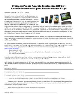 Traiga su Propio Aparato Electronico (BYOD) Reunión Informativa