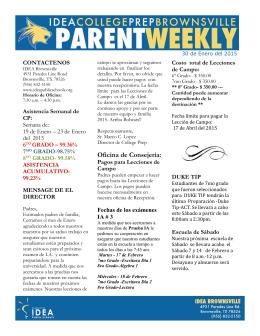 30 de Enero del 2015--Parent Weekly