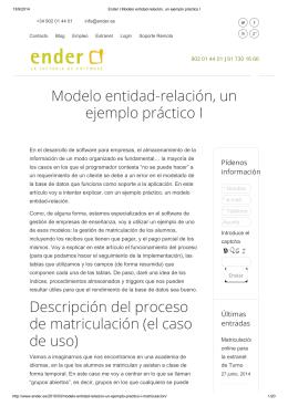 Modelo entidad-relación, un ejemplo práctico I Descripción del