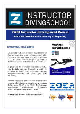 FOLLETO INSTRUCTOR DIVING SCHOOL