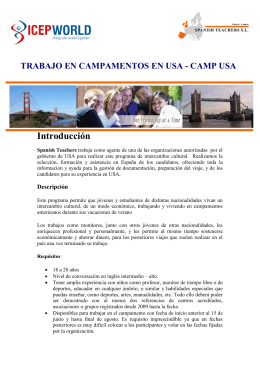 Folleto informativo CAMP USA2015