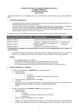 INSTRUCTIVO PARA EL PROCESO DE MATRICULA 2014