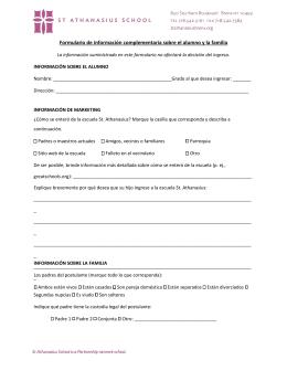 Formulario de información complementaria sobre el alumno y la