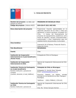 PROGRAMA DE ESCUELAS CHILE Código del proyecto