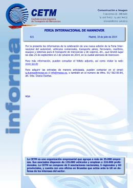 cetm informa- nº 021- feria internacional hannover 2014.