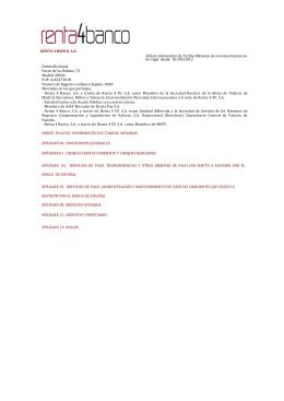 RENTA 4 BANCO, S.A. Folleto Informativo de Tarifas Máximas de
