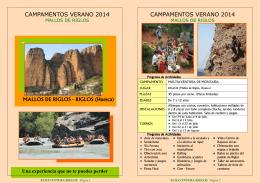 Folleto Campamento Riglos 2014. Ecoaventura. PDF