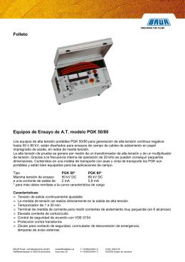 Folleto Equipos de Ensayo de A.T. modelo PGK 50/80