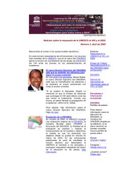 Noticias sobre la respuesta de la UNESCO al VIH y el