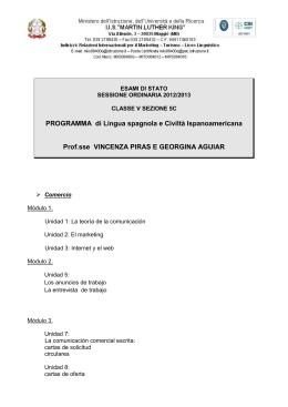 PROGRAMMA di Lingua spagnola e Civiltà Ispanoamericana Prof