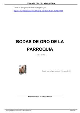 BODAS DE ORO DE LA PARROQUIA - Parroquia Corazón de María